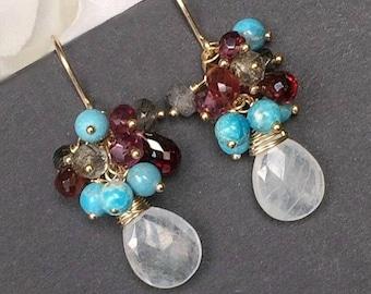 SUMMER SALE Moonstone Earrings Turquoise Garnet Cluster Earrings Rainbow Moonstone Earrings Gemstone Wire Wrap Gold Filled Earrings