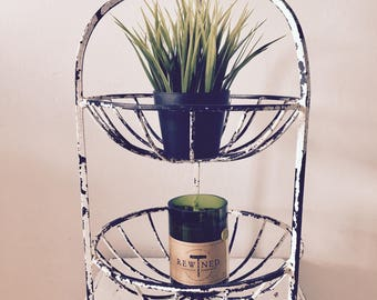 vintage garden plant stand patina distressed home decor