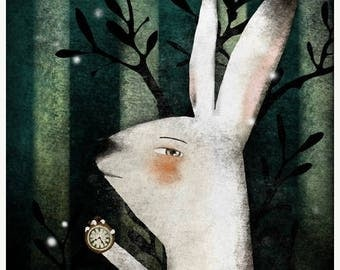 50% Off - Summer SALE The White Rabbit (Alice in Wonderland) - open edition print