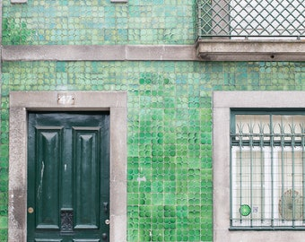 Portugal Photography, Green Door and Tile in Porto, Architecture of Porto, colors of Portugal, green wall art, portugal doors in Porto