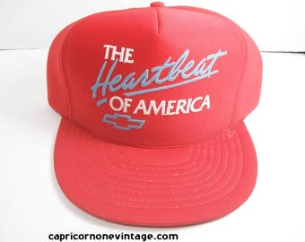 Vintage Chevy Snapback Baseball Cap Trucker Hat 'The Heatbeat of America' 1980s Chevrolet Cars Advertising Hat Gas Station