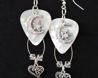 """Guitar pick and guitar string earrings """"Love You to the Moon"""""""