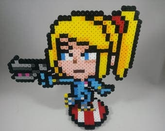 Zero Suit Samus - Metroid - Super Smash Bros Nintendo - Perler Bead Sprite Pixel Art Figure Stand or Lanyard Necklace
