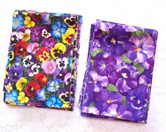Fabric Scraps - Destash Fabric - Quilt Supplies - Pansies - Purple Flowers