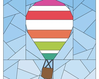 Hot Air Balloon Pattern - Rise Above Add-on: Horizontal Stripe  - Paper Piecing Quilt Pattern - #256 PDF