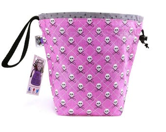 Small Knitting  Crochet Project Bag - Purple Crafty Pirates
