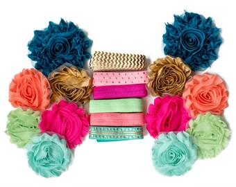Popsicles : Colorful DIY Headband Kit   6 or 12 Headbands   Chiffon Craft Roses FOE Fold Over Elastic   Princess Parties & Baby Showers
