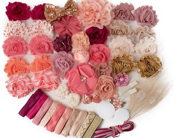 Blush & Bashful : DELUXE DIY Flower Elastic Headband Kit | MAKES 25+ Coral + Pink Hair Accessories | Baby Showers + Birthdays