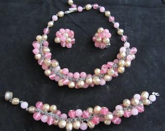 Beaded Necklace, Bracelet Earring Parure Vintage 50's Fabulous Costume Jewelry