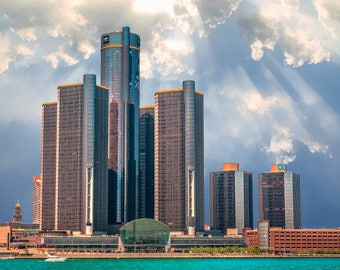 Detroit Photography Metallic Photographic Print of the GM Ren Cen Building