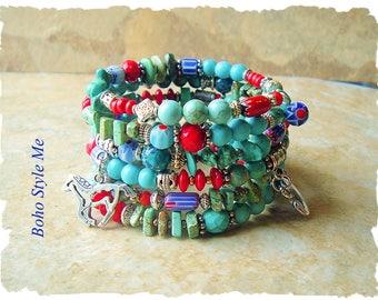 Bohemian Bracelet, Boho Cowgirl Layered Wrap, Colorful Turquoise Beaded Bracelet, Boho Style Me, Kaye Kraus