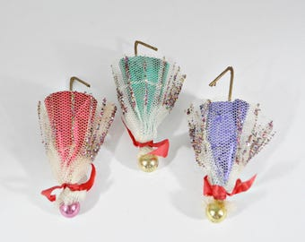 3 Vintage Umbrella Christmas Ornaments - Foil and Netting