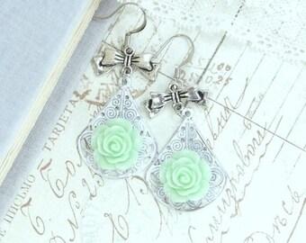 Green Rose Dangle Earrings Green And White Earrings Rose Dangle Earrings Green Flower Drop Earrings