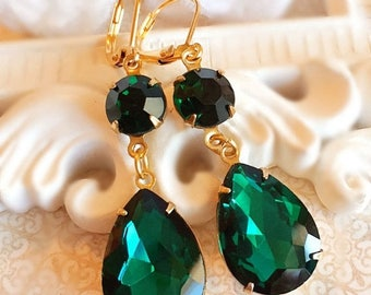 SALE 20% Off Emerald Earrings - Green - Formal Event - Bridesmaid Gift - ANGELINA Emerald