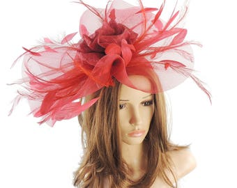 Dark Red Ascot Hat Fascinator for Kentucky Derby, Weddings & Proms