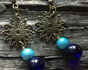 Cobalt Blue and Antique Brass-color Drop Earrings