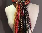 SALE Halloween accessories, Fringe tied scarf, Fringie in Black, Orange, Purple with candy corn ribbon, Halloween scarf, skulls, polka dots