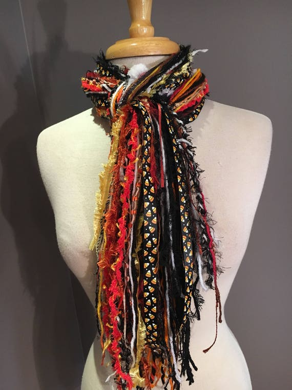 SALE Halloween accessories, Fringe tied scarf, Fringie in Black, Orange, Purple with candy corn ribbon, Halloween scarf, skulls, polka dots
