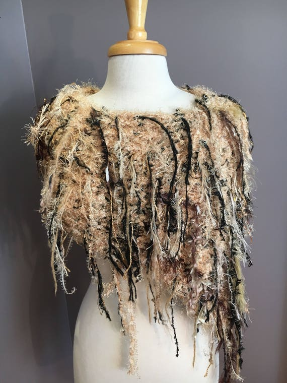 New Plush Knit Fringed Poncho, Cafe Latte, Fringed Soft tapered knit poncho, shoulder wrap, funky scarf, artwear, Black and Tan, boho chic