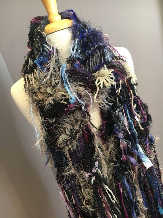 Knit Mixed fiber fringed scarf, Dumpster Diva Series, women scarves, boho scarves, art scarf, black scarves, taupe purple blue, bohemian