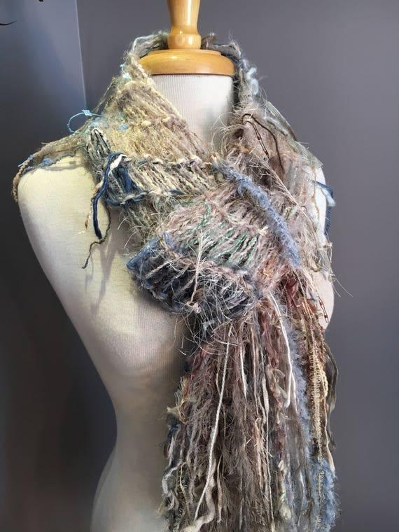 Handmade Fringed Scarf, Scrappy scarf, neutral shades, ivory taupe blue, Fringed Knit lightweight scarf for women, art yarn scarf, boho