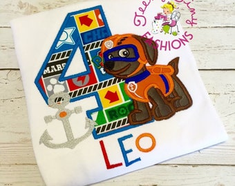 Paw Patrol Birthday Shirt ~ 2nd Birthday Shirt ~ Zuma Shirt ~ Boys Birthday Shirt ~ Rescue Pup ~ Underwater Pup  ~ Dog Birthday Shirt ~