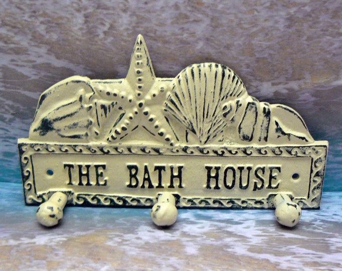 The Bath House Cast Iron Wall Hook Starfish Sea Shell Shabby Chic Cottage Chic Off Beach House Home Decor