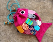 Girls Purse Fish Purse Frilly Fish Hot Pink Blue Purple  Colored Scales Novelty Shoulder Bag