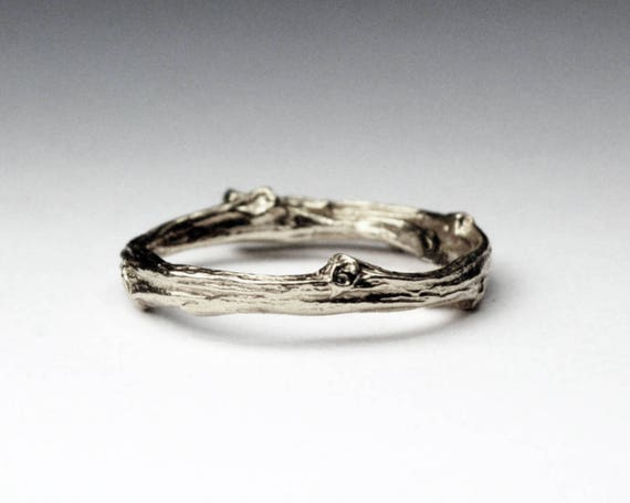 Tompkins Square Park Gold Twig Ring -closed circle-14k White gold