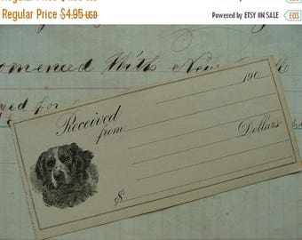 ON SALE 115 Year Old Divine Unused Puppy Dog Check Great for Altered Journals