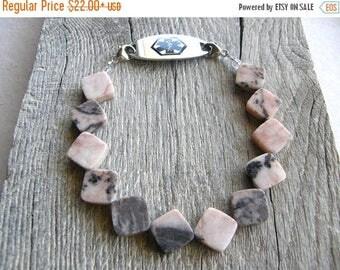 Summer Sale 20% Off Pink Opal Medical ID Bracelet, Diamond Shape Gemstone Alert Bracelet, Double Clasp Replacement Bracelet