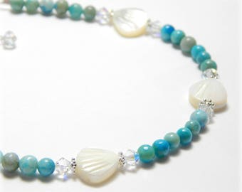 Seashell Anklet, Crystal Anklet, Seashell Jewelry, Turquoise and Mother Of Pearl Anklet, Sterling Silver Adjustable Anklet for Women