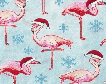 Santa Flamingos Cotton Christmas Fabric by the yard and by the half yard