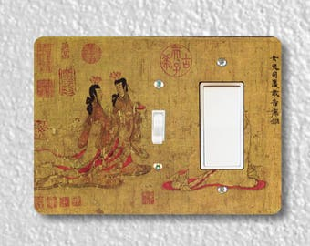Admonitions Scroll Chinese Painting Toggle and Decora Rocker Double Switch Plate Cover