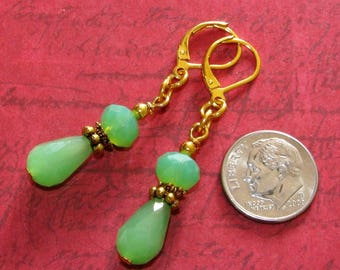 Jade Green TEARDROP Crystal Rondelle GP Leverback Earrings HANDCRAFTED