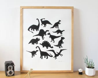 Dinosaur Screen Print Poster