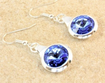 Swarovski Sapphire Rivoli Crystal in a Silver Plated Round Setting on Silver Plated Ear Wire