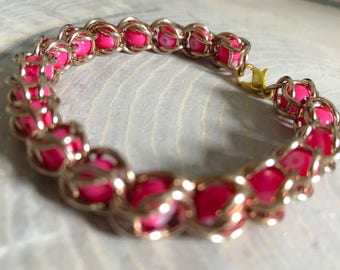 Pink Champagne Chainmail Caged Bead Bracelet