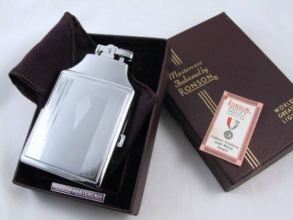 Cigarette case lighter Ronson chrome vintage Art Deco M149 C&E Near Mint Unused Old Stock