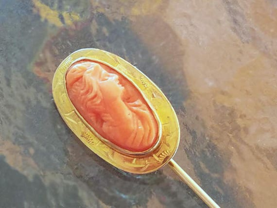 Antique Edwardian 10k gold coral cameo stick pin / stickpin / lapel pin / tie pin / tie tack / brooch