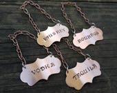 liquor bottle tags / liquor labels / hand stamped decanter label / decanter tag