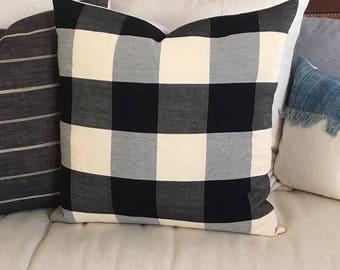 Black and Cream Buffalo Plaid Designer Pillow   Textured  Rich Color  22x22   Farmhouse / Cottage