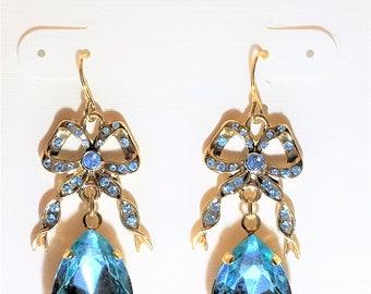 Light Blue Drop Pierced Vintage Earrings