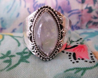RING - ORNATE  - MOONSTONE - Marquise  -  925 - Sterling Silver  - size 8 1/2-    moonstone495