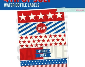 4th of July Party Printable, 4th of July Water Bottle Labels, Drink Wrappers, Digital File, Instant Download, USA, Red White and Blue