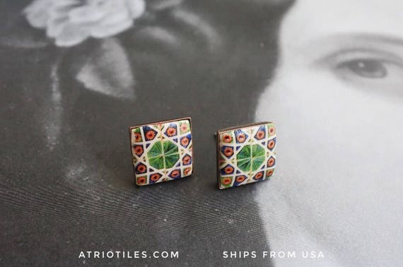 Portugal Antique Azulejo Tile GREEN POST STUD Earrings from Caldas da Rainha Bordallo Pinheiro Geometric Persian Gift Box - Brass or Silver