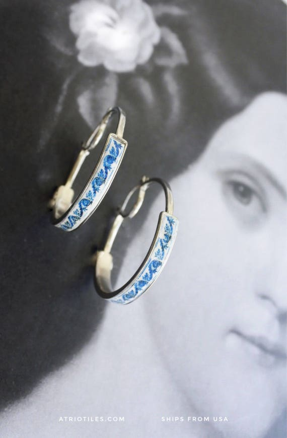 "Hoop Earrings Portugal Tile Azulejo Antique   -  1 1/2"" - from BRAGA Blue Tile Border! (see photo)"