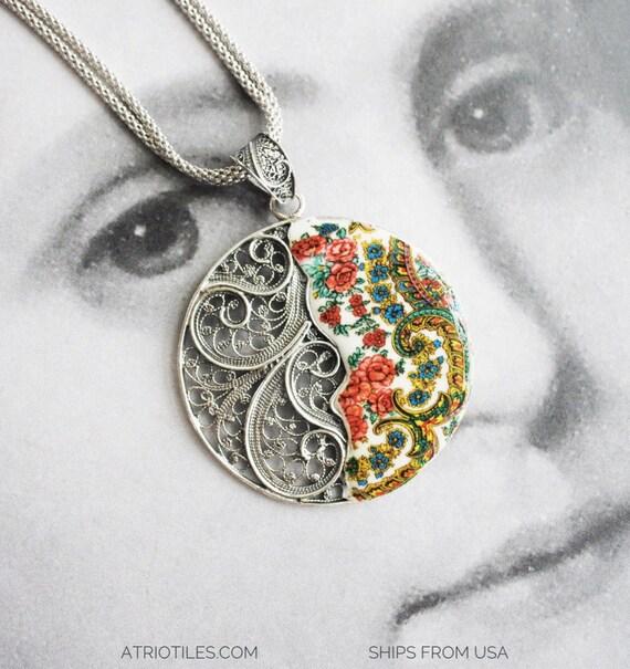 Portugal Sterling Silver Filigree Necklace -  Minho Viana Folklore  Portuguese Heritage Russia Orenburg Downy Pashmina