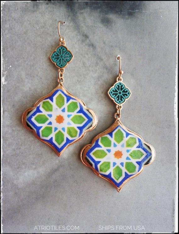 Earrings Portugal Tile Antique Azulejo Green Earrings, Geometric  Ilhavo -Persian Arab Arista Zellige Majolica Moroccan - Gift Boxed