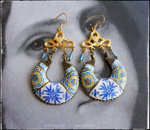 Chandelier Earrings Portugal  Azulejo Tile 17th Century Majolica Mosaic Igreja Madre de Deus, Lisboa and Ericeira Church Surgical Steel
